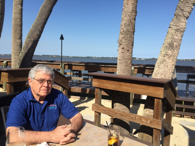 Lunching on the deck at River Rocks after our radio show.